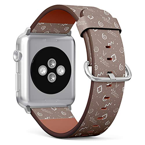 [ Compatible Small Apple Watch 38mm / 40 mm ] Replacement Leather Band Bracelet Strap Wristband Accessory // Ethnic Africa Motif Ornament Brown