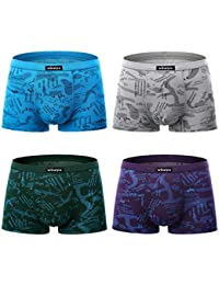 Men's 4 Pack Micro Modal Underwear Ultra Soft Microfiber Trunks Covered Waistband Short Leg S-3XL