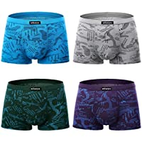 wirarpa Men's 4 Pack Micro Modal Underwear Ultra Soft Microfiber Trunks Covered Waistband Short Leg S-3XL