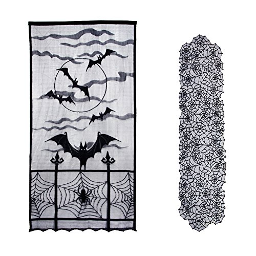 KUMEED Halloween Window Curtain Black Bats Lace and Spider Web Table Runner Linens Kit for Halloween Party Window Table Decorations