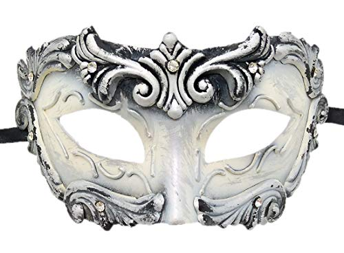 Coolwife Mens Masquerade Mask Vintage Venetian Greek Roman Colombina Mardi Gras Party Mask (C White) ()