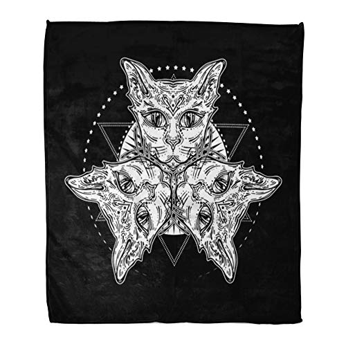 Emvency Throw Blanket Warm Cozy Print Flannel Three of Cat Head Mystical Composition Halloween Tattoo Egyptian Spirituality Comfortable Soft for Bed Sofa and Couch 60x80 Inches