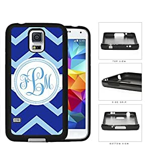 Blue Light Blue Chevron Monogram (Custom Initial) Rubber Silicone TPU Cell Phone Case Samsung Galaxy S5 SM-G900