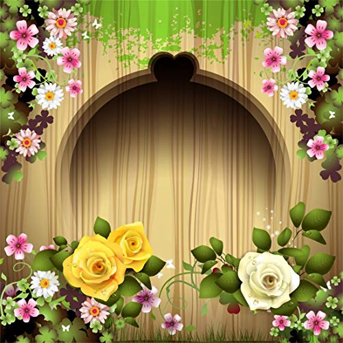 Yeele 6x6ft Carved Wood with Roses Spring Scene Backdrops Nostalgia Wooden Plank Colorful Flowers Pictures Baby Adult Artistic Portrait Photoshoot Props Photography Background