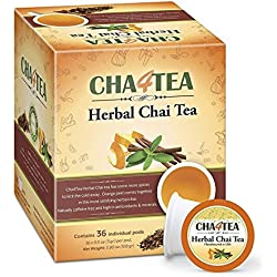 Cha4TEA 36-Count Herbal Chai Tea K Cups for Keurig K-Cup