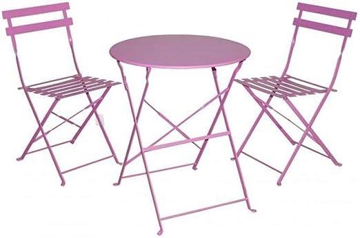 Gerimport Juego de Muebles de balcón Plegables de Acero para Exteriores, 3 Piezas, Mesa y sillas Plegables (Color Rosa): Amazon.es: Jardín