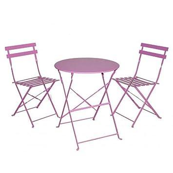 Gerimport Juego de Muebles de balcón Plegables de Acero para Exteriores, 3 Piezas, Mesa y sillas Plegables (Color Rosa)
