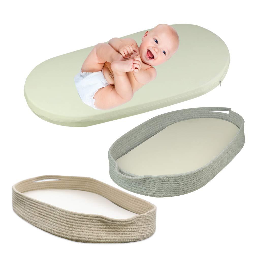 ICEBLUE HD Baby Moses Basket Mattress Pad Cradle Crib Mattress Bassinet Mattress Organic Cotton Cover Foam Pad