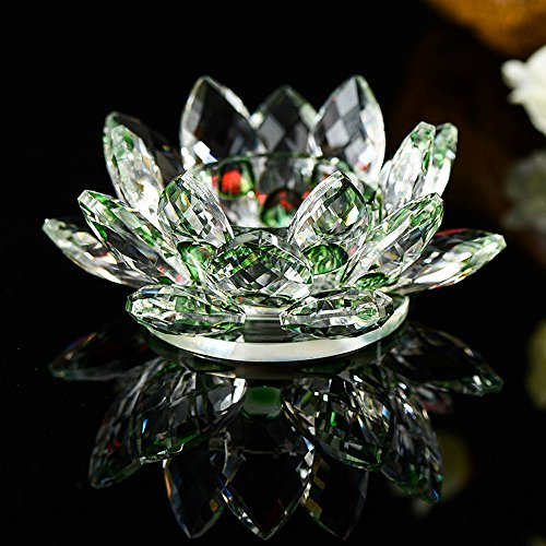 (Hot Sale!DEESEE(TM)7 Colors Crystal Glass Lotus Flower Candle Tea Light Holder Buddhist Candlestick (E))