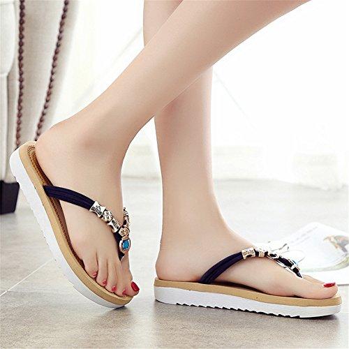 Tanga Scarpe Sandalo Metallo Black Con Spiaggia Decorazione Piatte Comfort Good Night In Infradito Signore Rilievo Da Piattaforma UwXqzF