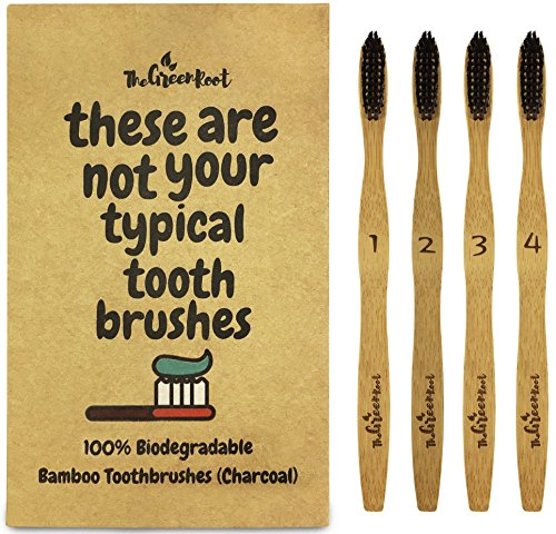 Bamboo Charcoal Infused Toothbrush W/ 15 Degree Angle & Soft BPA Free Nylon Bristles - 100% Organic and Biodegradable Wooden Toothbrush For Adults - Pack Of 4 Best Toothbrushes For Sensitive Gums