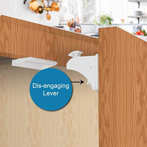 Enovoe Magnetic Locks - 12 Locks + 2 Keys - Magnetic Baby Safety Cabinet and Drawer Locks Child Proof Your Kitchen and are Easy to Install - No Drill, Tools or Screws Needed    Product Description