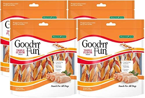 Healthy Hide Good n Fun 4 Pack of Triple Flavored Rawhide Twists Chews for Dogs, 35 Twists Per Pack