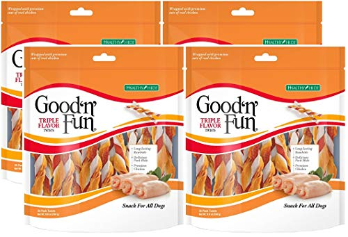 - Healthy Hide Good'n'Fun 4 Pack of Triple Flavored Rawhide Twists Chews for Dogs, 35 Twists Per Pack
