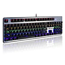 Velocifire VM30 Full Sized Mechanical Gaming Keyboard by Kailh Switches with LED Illuminated Backlit NKRO 104 keys Anti-Ghosting and Gold Plated USB Connection, US Layout (Blue Switch)