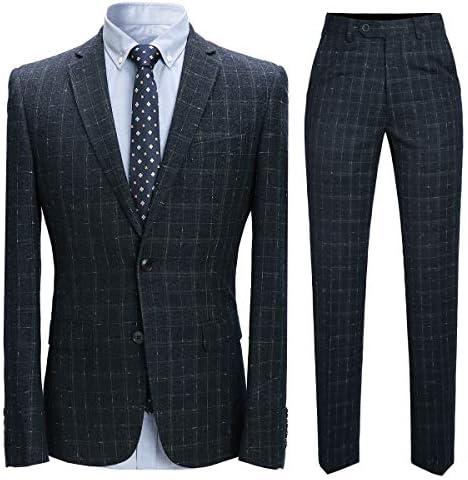 スーツセット メンズ チェック柄 紳士 細身 フォーマル カジュアルスーツ ビジネススーツ ジャケット×ベスト×パンツの3点 ジャケット×パンツの2点 スリーピース オシャレ ビジネス パーティー 結婚式 大きいサイズ 格子柄