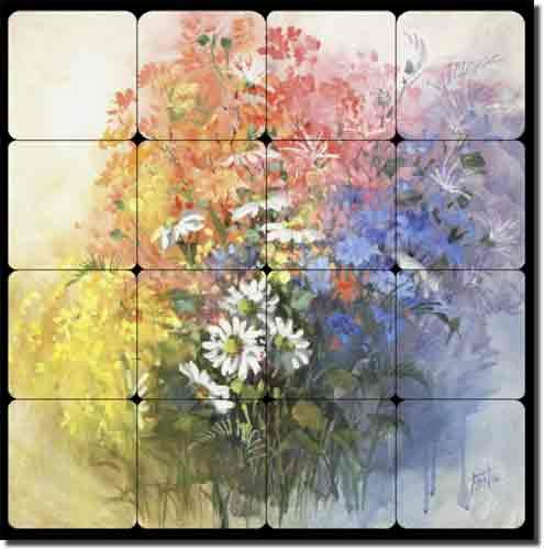 "UPC 810753026222, Daisies by Fernie Parker Taite - Floral Flowers Tumbled Marble Tile Mural 16"" x 16"" Kitchen Shower Backsplash"