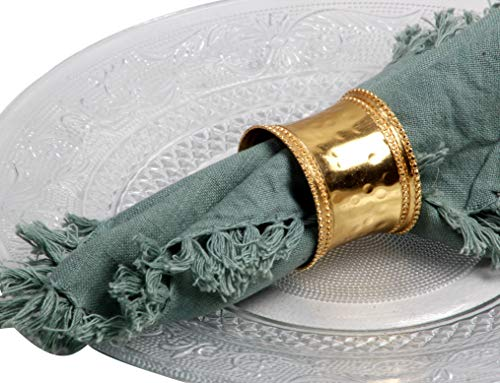 Dual Beaded Hammered Concave Metal Napkin Rings for Wedding Party Decoration Dinning Table Occasion Everyday Family Gatherings, Set of 4 - Gold - A Beautiful Emphasize to Your Dining Table décor