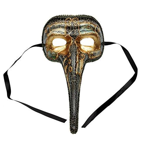 ILOVEMASKS Musical Venetian Mardi Gras Men Nose Mask - Gold Black
