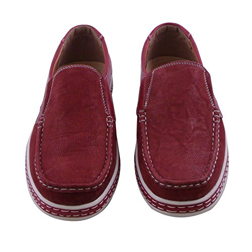 Blancho Mens Casual Slip-on Mocassin Rouge
