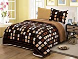 All American Collection New Super Soft and Warm 2 Piece Borrego/Sherpa Blanket Twin Size (Brown Squares)