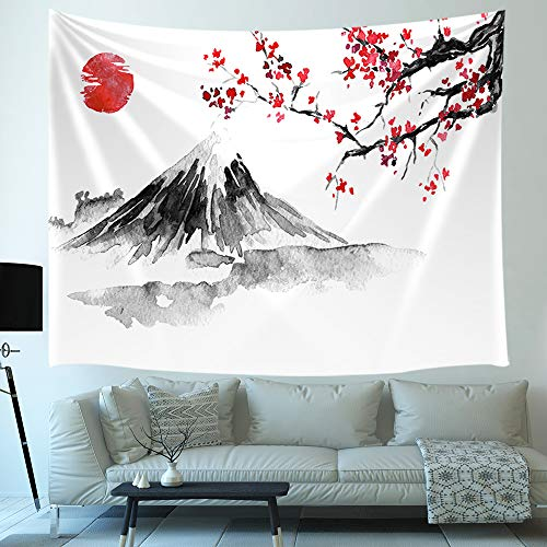 Japanese Mount Fuji Decor Tapestry, Cherry Blossoms Sakura Sunset Asia Ink Painting Art Wall Hanging for Bedroom Living Room College Dorm TV Backdrop Wall Blankets 71X60 ()