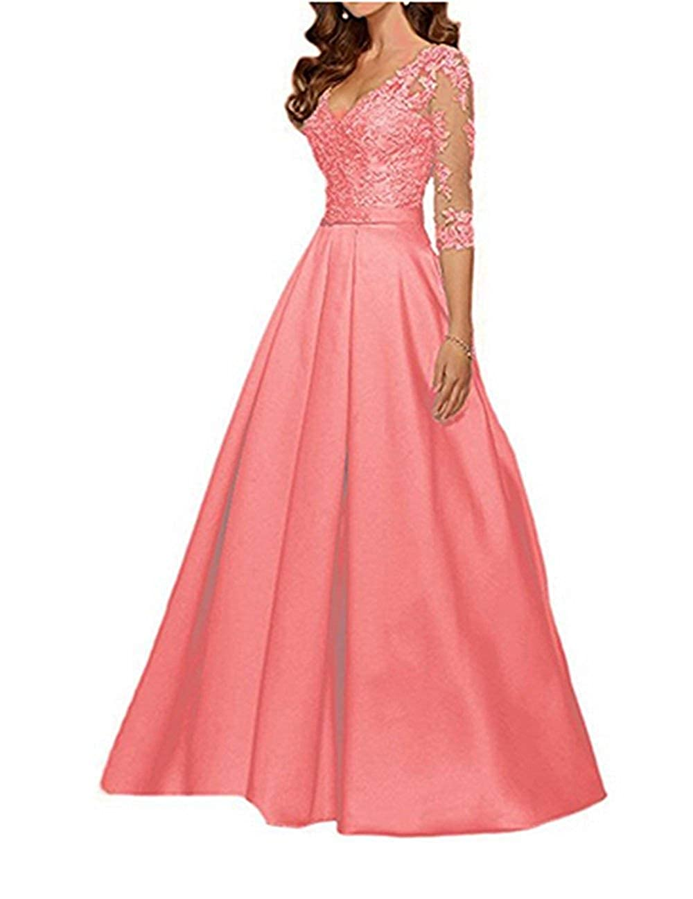 Coral Mother of The Bride Dresses Lace V Neck Long Sleeve Evening Prom Gowns Plus Size Mother Dress