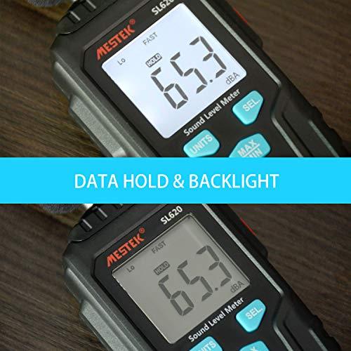 Decibel Meter Digital Sound Level Meter MESTKE 30 – 130 dB Noise Volume Measuring Instrument Reader Self-Calibrated Max Min Data Hold Fast/Slow Mode LCD Backlight Display/Flashlight by MESTEK (Image #6)