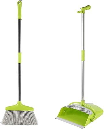 HBKJ3 Extralarga Palanca multifunción Herramientas Suave Cepillo Escoba y un recogedor Prueba de Viento mágica Escoba Set Oficina de Escuelas Jardín Limpieza (Color : Green): Amazon.es: Hogar