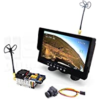 5.8GHz Long-Range FPV System with 1000TVL HD Camera 7 HD Monitor with Built-In Battery & Speaker, 1000mW Transmitter and Circular Polarized Antenna Set