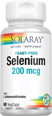 Solaray Selenium 200, No Yeast 200mcg | Healthy Immune, Thyroid Function, Antioxidant Support | High Absorption Formula | Vegan & Non-GMO | 90ct
