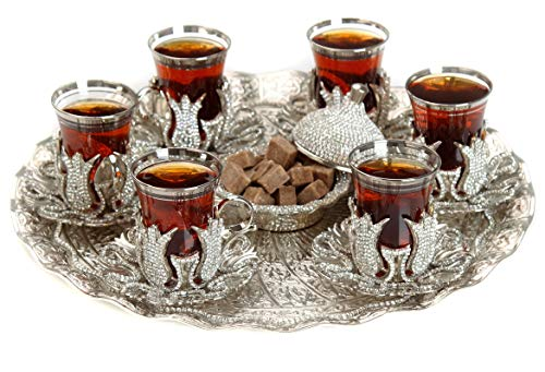 (Gold Case Silver plated Turkish Tea Glasses Service Set for 6 - Additionally Hand Decorated with Swarovski Crystals - Made in Turkey - 21 pieced METAL set including tray and etc. in Gift Box, Silver)