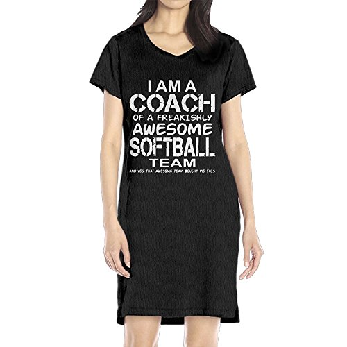 Richard Women's I Am A Coach Of A Freakishly Awesome Softball Team Leisure Black Short Sleeve V-Neck Dress L