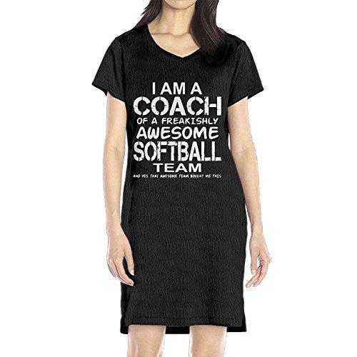 Richard Women's I Am A Coach Of A Freakishly Awesome Softball Team Leisure Black Short Sleeve V-Neck Dress L