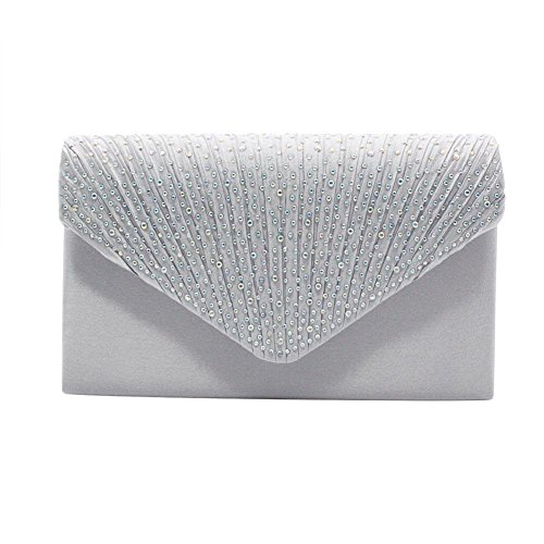 Bag ��ɫ Clutch Evening Party Envelope Wedding Rhinestone for Women's Frosted Satin Handbag xwg0qqBP