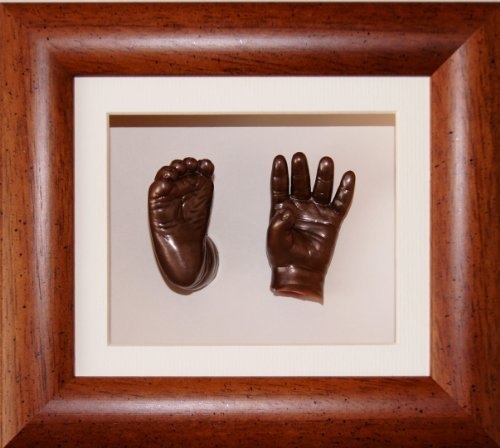 Baby Casting Kit with 6x5'' Dark Wood Frame, Bronze Metallic Paint by BabyRice by Anika-Baby