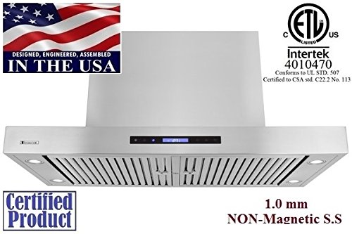 XtremeAir PX06-I48 1600 CFM Easy Clean swing-able baffle Filters, Stainless Steel, Island Mount Range Hood, 48