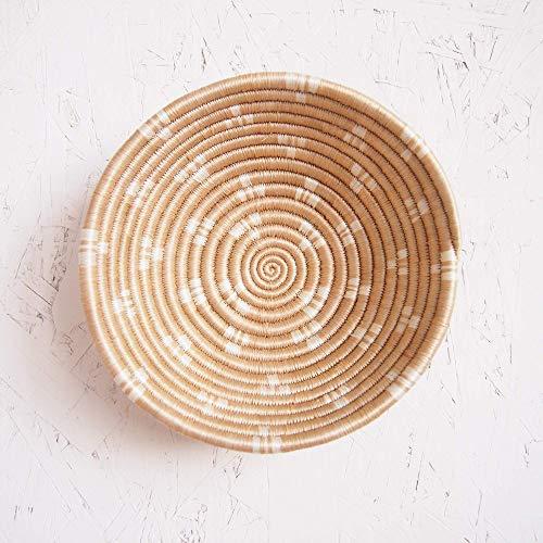 (Small African Basket- Ntamba/Rwanda Basket/Woven Bowl/Sisal & Sweetgrass Basket/Tan, White)