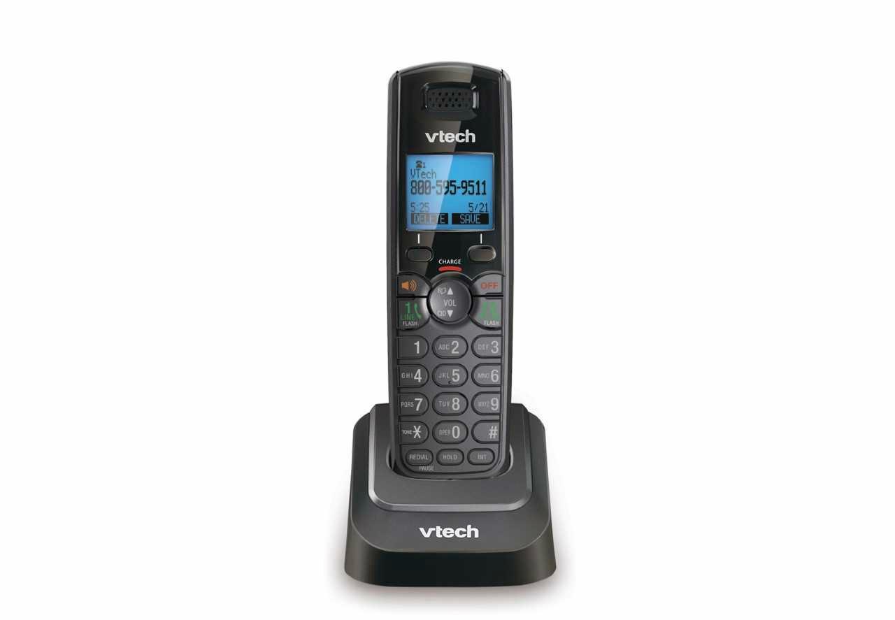 VTech DS6151-11 DECT 6.0 2-Line Expandable Cordless Phone + (4) DS6101-11 Accessory Handset, Black