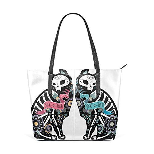 COOSUN Colorfull Katzen Totenkopf Knochen PU Leder Schultertasche Handtasche und Handtaschen Tote Bag für Frauen