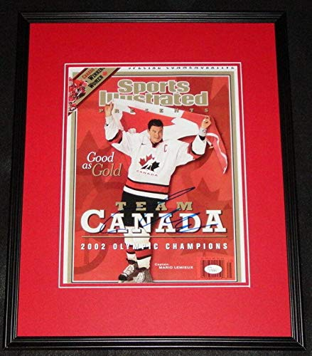 Photograph Mario Lemieux - Signed Mario Lemieux Photograph - Framed 11x14 Poster 2002 Olympics Team Canada - JSA Certified - Autographed NHL Photos
