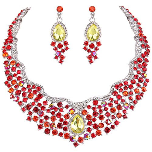 EVER FAITH Women's Austrian Crystal Flower Cluster Teardrop Necklace Earrings Set Red Silver-Tone