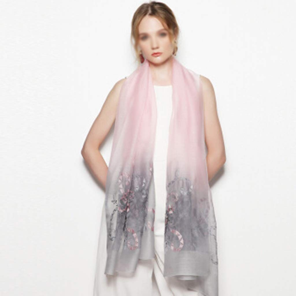 A Silk Wool Scarf, Embroidered Flower Lady Shawl, Silk Scarf Dualuse Scarf (color   D)