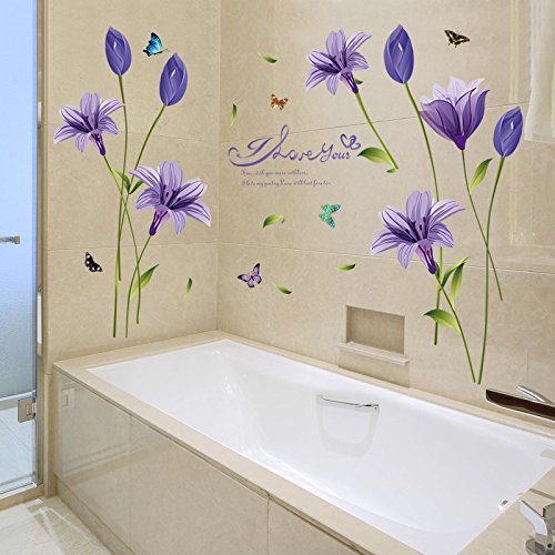 Purple Pollen Removable Wall Art Decal Sticker Diy Home: Lkous Removable Purple Lily Flower Decals DIY Art Home