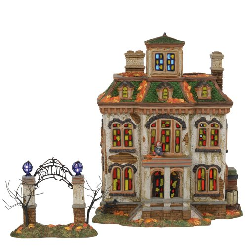 Department56 Snow Village Halloween Last Laugh Asylum Lit Building, 10.75