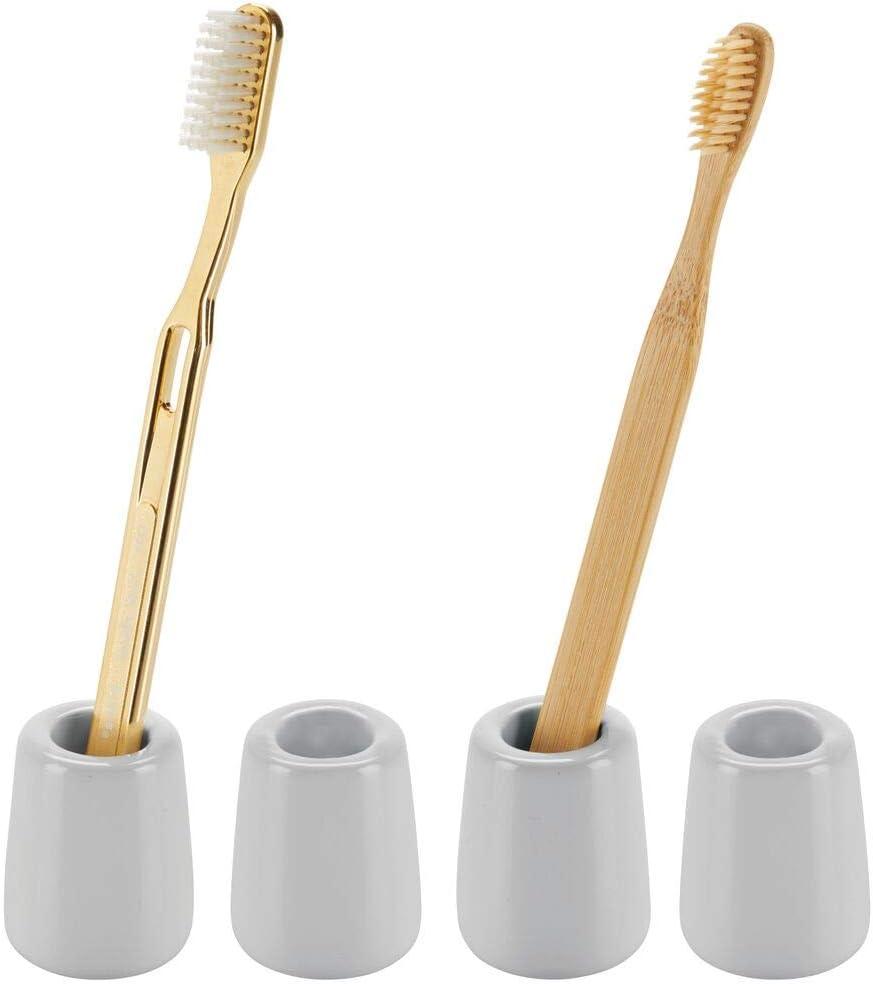 gris mDesign Juego de 4 portacepillos de dientes de dise/ño moderno y compacto Accesorios de ba/ño m/óviles para el lavabo o el tocador Vasos para cepillos de dientes redondos de cer/ámica