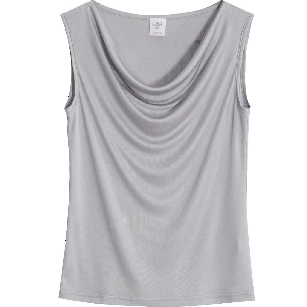 C Silk Tank Tops,Women's Silk Breathable SkinFriendly Summer Wear Camisole Sexy Pleated Sleeveless Top (color   D, Size   XXL)