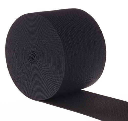 Elastic Material (RERIVER 2-inch Wide Black Heavy Knit Stretch ELASTIC 5 Yards (Black))
