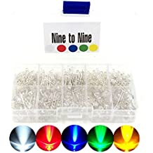 Pack of 600 3mm and 5mm Assorted Clear LED Light Emitting Diodes 5 Colors with Popular 1/4W Metal Film Resistor Kit