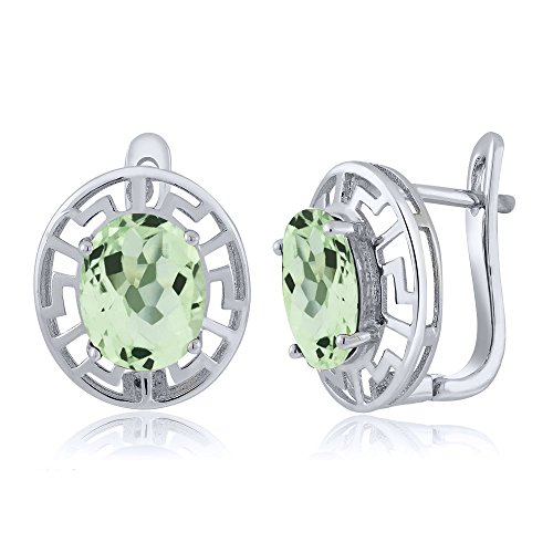 Greek Key Post Earrings (4.20 Ct Oval Green Amethyst Greek Key 925 Sterling Silver Women's Earrings (10X8MM Oval))